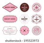 pink bakery badges | Shutterstock .eps vector #195523973