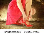 red skirt red shoes and woman  | Shutterstock . vector #195534953