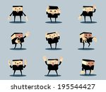 set of unhappy office and... | Shutterstock .eps vector #195544427