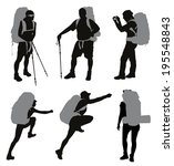 people with backpack vector... | Shutterstock .eps vector #195548843