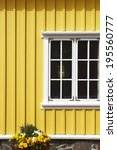 yellow icelandic wooden... | Shutterstock . vector #195560777