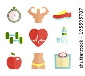 set of flat health and sport... | Shutterstock . vector #195595787