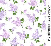 Seamless pattern with lilac flowers. Vector illustration.