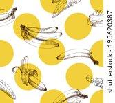 banana pattern  vector hand... | Shutterstock .eps vector #195620387