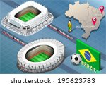 Detailed illustration of a Isometric Stadium of Recife and Belo Horizonte, Brazil - stock vector