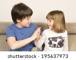 glad children clasping hands on ...   Shutterstock . vector #195637973