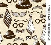 hand drawn hipster seamless... | Shutterstock .eps vector #195645677