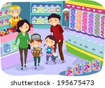 illustration of a family... | Shutterstock .eps vector #195675473