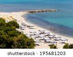 Small photo of Kallithea sunny beach and summer resort at Kassandra of Halkidiki peninsula in Greece