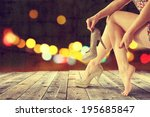 dark night and woman  | Shutterstock . vector #195685847