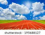 running track with sky and...   Shutterstock . vector #195688127