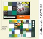 template of brochure design with keyboard and squares