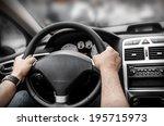 Man Driving His Car. Hands...