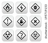 danger  risk  warning buttons... | Shutterstock .eps vector #195719153