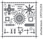 vector set of black decorative... | Shutterstock .eps vector #195721253