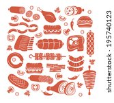 Set of flat vector meat and sausage icons