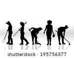 Vector Silhouette Of People On...