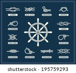 Vintage illustrations of white nautical rope knots over blue background