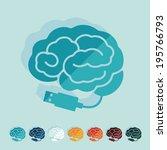 flat design  brain | Shutterstock .eps vector #195766793