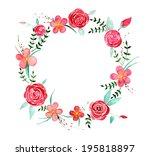 watercolor flower wreath   Shutterstock . vector #195818897