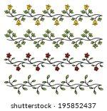 cartoon style flower border... | Shutterstock .eps vector #195852437