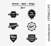 set elements  labels  ribbons... | Shutterstock .eps vector #195861143