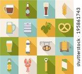 set of flat beer icons  | Shutterstock .eps vector #195861743