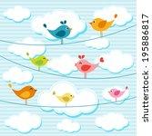 birds on wires  | Shutterstock .eps vector #195886817