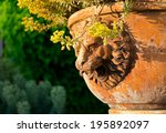 lion decoration on the old vase ... | Shutterstock . vector #195892097
