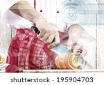 close up of cook hands cutting... | Shutterstock . vector #195904703