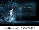 young running man against... | Shutterstock . vector #195922397