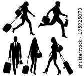 people in hurry  on airport  ... | Shutterstock .eps vector #195925073