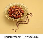 an ornamental bowl of dates and ... | Shutterstock . vector #195958133