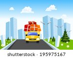 delivery truck distributes... | Shutterstock . vector #195975167