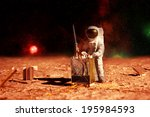 astronaut on mars | Shutterstock . vector #195984593