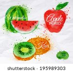 apple,art,artistic,background,berry,brushstroke,closeup,color,colorful,creative,dessert,diet,drawing,food,fresh