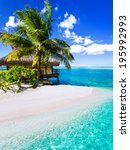 tropical villa and palm tree...   Shutterstock . vector #195992993