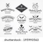 black vector bakery badges for... | Shutterstock .eps vector #195993563
