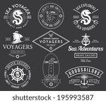 white vector sea badges on... | Shutterstock .eps vector #195993587