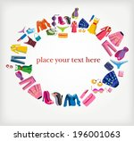 decorative frame with clothes | Shutterstock .eps vector #196001063