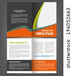 vector empty bi fold brochure... | Shutterstock .eps vector #196052663