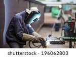 worker with protective mask... | Shutterstock . vector #196062803