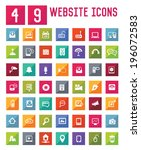 49 easy website icons vector  | Shutterstock .eps vector #196072583