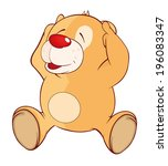 a stuffed toy bear cub cartoon  | Shutterstock .eps vector #196083347