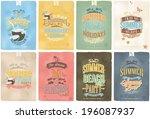 set of beautiful vintage... | Shutterstock .eps vector #196087937