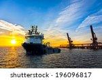 Big Tugboat In A Harbor At...