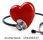 red heart and a stethoscope on... | Shutterstock . vector #196100237