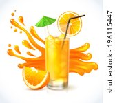 orange vitamin juice in glass... | Shutterstock .eps vector #196115447