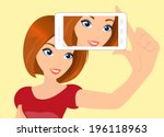 vector illustration of redhair... | Shutterstock .eps vector #196118963