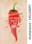 Poster with red watercolor chili pepper lettering hot chili pepper